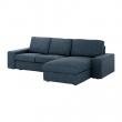 KIVIK Sofá 3 plazas con diván, HILLARED azúl oscuro