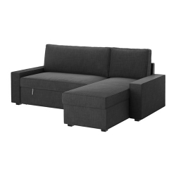 VILASUND Sofá cama 3 plazas con diván, HILLARED antracita