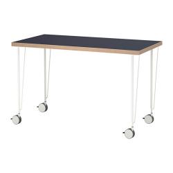 LINNMON/KRILLE Mesa de escritorio 120x60 cm con ruedas azul/blanco