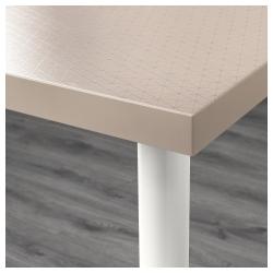 LINNMON/OLOV Mesa de escritorio 120x60 cm con patas regulables geométrico beige/blanco