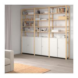 IVAR Estructura almacenaje 259x30x226 cm tres secciones con estantes y armarios