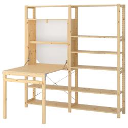 IVAR Estructura almacenaje 175x30x179 cm dos secciones con estantes y mesa plegable