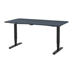 BEKANT Escritorio profesional 160x80 cm sentado/de pie azul/negro