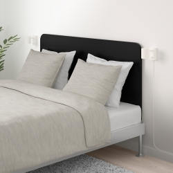DELAKTIG Queen bed, frame with headboard black