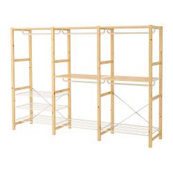 IVAR Armario abierto 259x50x179 cm tres secciones con rieles, estantes y zapatero