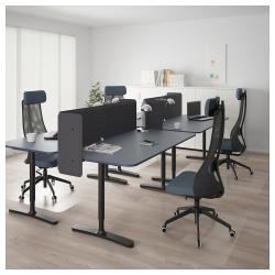 BEKANT Combinación escritorio oficina 4 puestos con separador 55 cm azul/negro