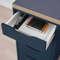 LINNMON/ALEX Mesa de escritorio 120x60 cm con cajonera azul/negro