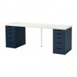 LINNMON/ALEX Mesa de escritorio 200x60 cm con dos cajoneras blanco/azul