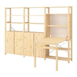 IVAR Estructura almacenaje 259x30x179 cm con armarios, estantes y mesa plegable