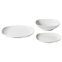 VÄRDERA Vajilla 18 piezas porcelana, blanco