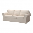 EKTORP Three-seat sofa with LOFALLET beige cover