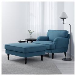 STOCKSUND Sillón Ljungen azul desenfundable con patas de madera en negro