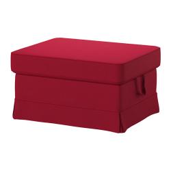 EKTORP Reposapiés con almacenaje + funda NORDVALLA rojo