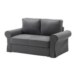 BACKABRO Sofá cama 2 plazas, NORDVALLA gris oscuro