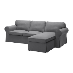 EKTORP Three-seat sofa with chaise longue, NORDVALLA dark grey