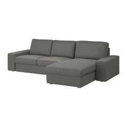 KIVIK Sofá 3 plazas con diván, BORRED gris-verde