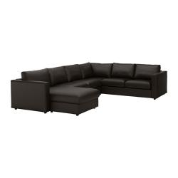 VIMLE Sofá 5 plazas esq con diván, FARSTA negro