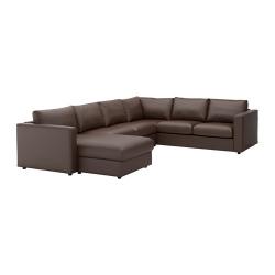 VIMLE Sofá 5 plazas esq con diván, FARSTA marrón oscuro