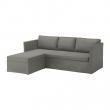 BRÅTHULT Corner sofa 3-seat, BORRED grey-green