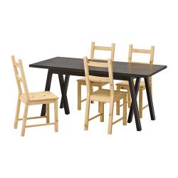 RYGGESTAD/GREBBESTAD/IVAR Mesa con 4 sillas