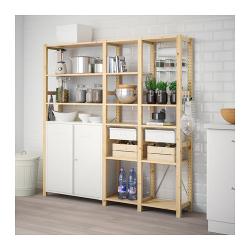 IVAR Estructura almacenaje 178x30x179 cm tres secciones con estantes, cajones y armario