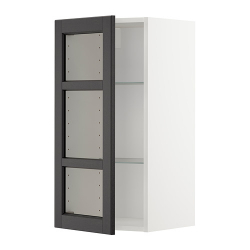 METOD Armario de pared puerta de vidrio