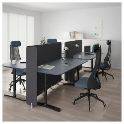 BEKANT Combinación escritorio oficina 4 puestos con separador azul/negro