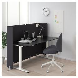 BEKANT Escritorio profesional sentado/de pie 160x80 cm con separador negro/blanco