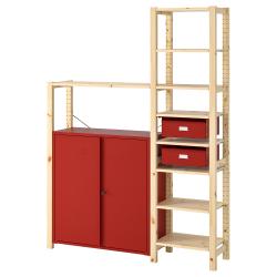 IVAR Estructura almacenaje 134x30x179 cm dos secciones con estantes, cajones y armario