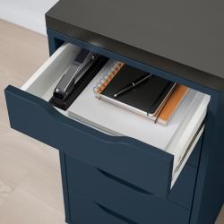 LINNMON/ALEX Mesa de escritorio 120x60 cm con cajonera negro-marrón/azul