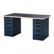 LINNMON/ALEX Mesa de escritorio 150x75 cm con dos cajoneras negro-azul