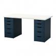 LINNMON/ALEX Mesa de escritorio 150x75 cm con dos cajoneras blanco/azul