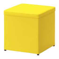 BOSNÄS Footstool with storage, RANSTA yellow