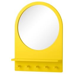 SALTRÖD Espejo con estante y ganchos, amarillo
