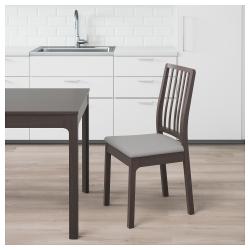 EKEDALEN Silla asiento tapizado marrón oscuro/gris