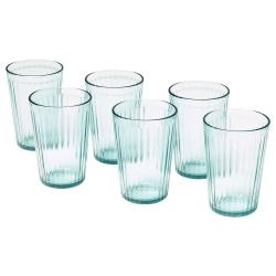 KALLNA Juego de 6 vasos de vidrio templado verde relieve, 31cl