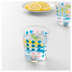 VECKAD Juego de 6 vasos de vidrio colores, 30cl