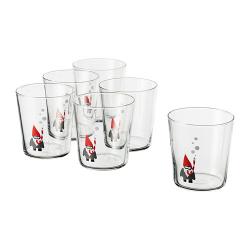 VINTERFEST Juego de 6 vasos de vidrio gnomo, 30cl