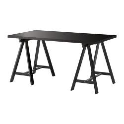 LINNMON/ODDVALD Mesa de escritorio 150x75 cm negro-marrón/negro
