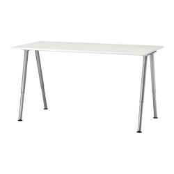 THYGE Escritorio altura regulable 160x80 cm blanco/gris