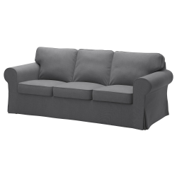EKTORP Three-seat sofa, NORDVALLA dark grey