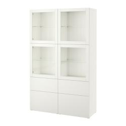 BESTÅ Vitrina blanca de cuantro cajones y cuantro puertas vidrio transparente, 120x40x192 cm