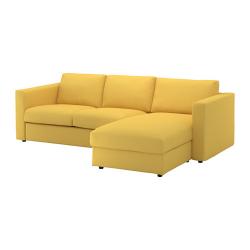 VIMLE Sofá 3 plazas con diván, ORRSTA dorado