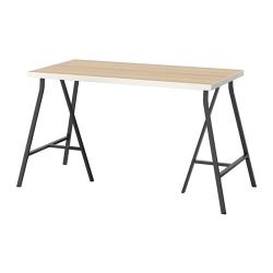 LINNMON/LERBERG Mesa de escritorio 120x60 cm blanco efecto roble/negro