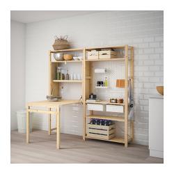 IVAR Estructura almacenaje 174x30x179 cm dos secciones con estantes, cajones y mesa plegable