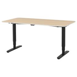 BEKANT Escritorio profesional 160x80 cm sentado/de pie roble/negro