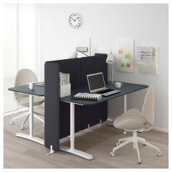 BEKANT Combinación escritorio oficina 2 puestos con separador azul/blanco