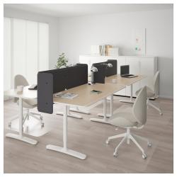 BEKANT Combinación escritorio oficina 4 puestos con separador 55 cm roble/blanco