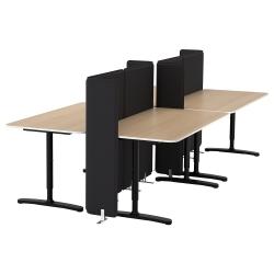 BEKANT Combinación escritorio oficina 4 puestos con separador roble/negro