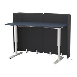BEKANT Escritorio profesional sentado/de pie 160x80 cm con separador azul/blanco
